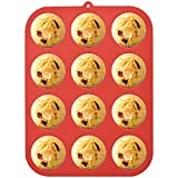 Silicone Muffin Tray for 12 Muffins. Non Stick Muffin Pan to Make Cupcakes, Yorkshire Pudding 3cm Deep Silicone Moulds