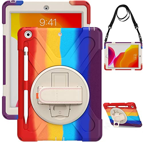 QYiD iPad 9.7 inch 2017/2018 Case, Heavy Duty Shockproof Case with Swivel Handle Stand/Pencil Holder/Shoulder Strap for iPad 9.7 5th / 6th Generation, Colorful Red