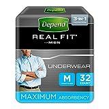 Depend Real Fit - Pantalones de Incontinencia para Hombres, Absorbencia Máxima, M,...