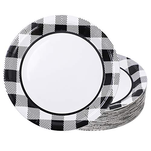 Aneco 60 Pieces White and Black Plaid Paper Plates Disposable Round Plates Dinnerware Plates Party Supplies for Party, 9 Inches