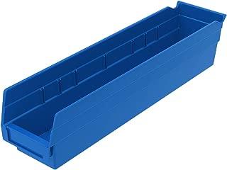 Akro-Mils 30128 18-Inch by 4-Inch by 4-Inch Plastic Nesting Shelf Bin Box, Blue, Case of 12