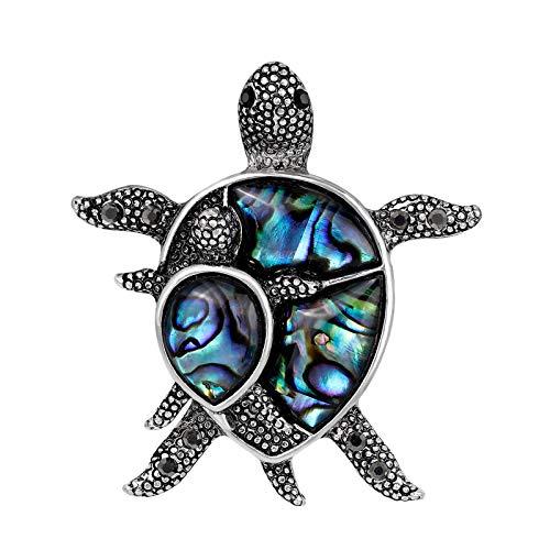 Janly Clearance Sale Broche para mujer, diseño vintage de piedra azul con concha de tortuga, diseño de animales de tortuga, juego de joyas, día de San Valentín (azul)