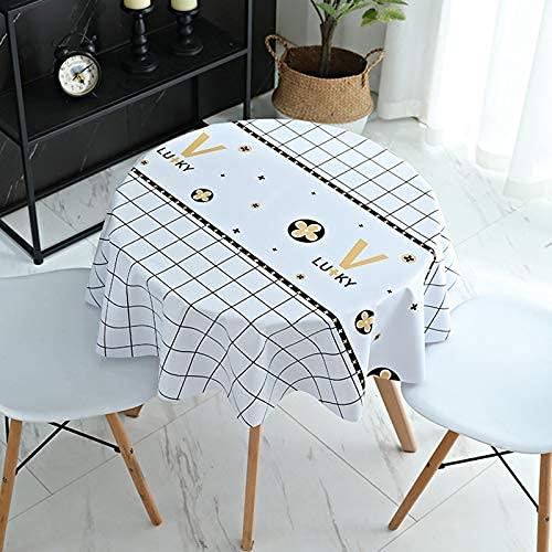 Asvert Mantel PVC para Mesa Redondo Mantel Antimanchas Mantel Impermeable para Cocina (Flor de la Suerte-Blanco, 100cm)