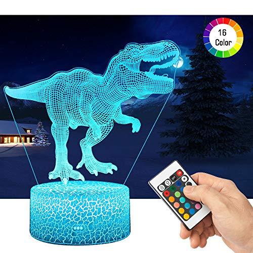 QiLiTd 3D Heftiger T-Rex Lampe LED Nachtlicht mit Fernbedienung, 16 Farben Wählbar Dimmbare Touch Schalter Nachtlampe Geburtstag Geschenk, Frohe Weihnachten Geschenke Für Mädchen Männer Frauen Kinder