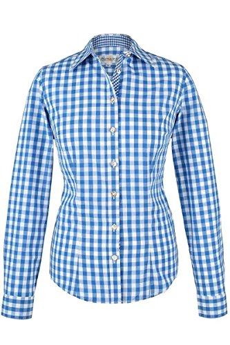Almsach Damen Trachten-Bluse blau-weiß kariert 'Maria', blau, 40