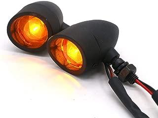 BESONDER 2Pcs Heavy Duty Motorcycle Bullet Turn Signals Blinker 3 Wires Indicator Lights Amber Lamp (Black)