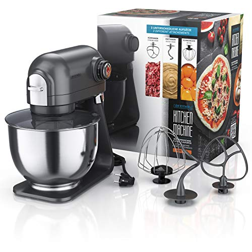 Arendo - leistungsstarke Küchenmaschine 5 Liter – Edelstahl Rührmaschine Knetmaschine – planetarisches Rührsystem - Edelstahlschüssel - inkl. 3 Rührwerkzeuge – 5 Schaltstufen - 1200 W - Cool Grey - 4