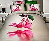 GAW Hogar Moda 3D Cotten 4-piece Set de ropa de cama, edredón king/rey de California,Funda nórdica(200*230 cm*1),Hoja(230*230 cm*1),Funda de almohada(48*74cm*2)