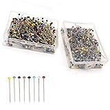 Yueser 1000 Piezas 38 mm Multicolor Alfileres de Costura,Alfileres de Cabeza Cristal en Caja para Componentes de Joyería Decoración Manualidades
