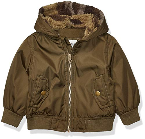 Carter's Baby Boys Fleece Lined Bomber Jacket, Rustic Olive, 24 Months