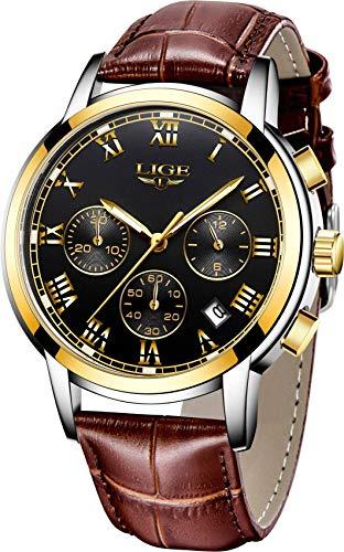 Lige Herren Fashion Casual Analoge Quarz Uhren Braun Leder Datum Wasserdicht Chronograph 9810K