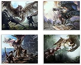 Crystal Monster Hunter World Prints - Rathalos - Anjanath - Nergigante - Set of Four 8x10 Poster Wall Art Photos