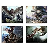 Crystal Monster Hunter World Prints - Set of 4 (8x10 Inches) Glossy Wall Art Decor - Rathalos - Anjanath - Nergigante