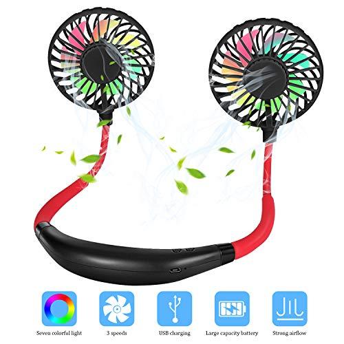 Redmoo Ventilador USB para el Cuello Manos Libres Recargable portátil 2 Cabezas Ajustables, 3 velocidades de Viento, Ventilador USB para oficinas al Aire Libre Negro