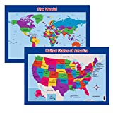 World & United States Wall/Desk Maps for Kids (Two Maps, 26