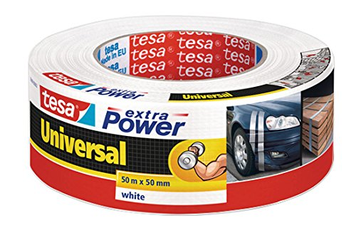tesa extra Power Universal Gewebeband - Gewebeverstärktes Ductape zum Reparieren, Befestigen, Bündeln, Verstärken oder Abdichten - Weiß - 50 m x 50 mm