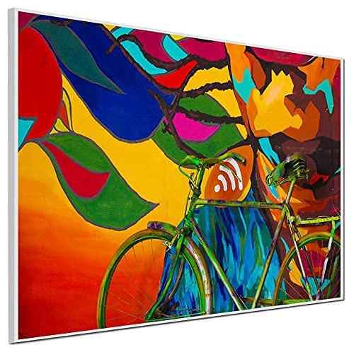 Ecowelle Calefacción por infrarrojos con imagen | 500 W | 60 x 80 cm | calefacción por infrarrojos | fabricado en Alemania | perfil de aluminio blanco | f 148 cuadros bicicleta