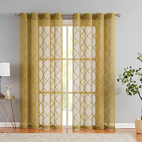 """Nottingson Home Mustard Yellow Sheer Curtains 84 Inches Long for Living Room Geometric Jacquard Diamond Semi Sheer Patterned Curtain 2 Panels Moroccan Tile Embroidery Window Drapes Grommet 54"""" Wx84 L"""