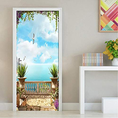 JHYT 3D Türaufkleber European Sea Sky Scenery Wandbild Tapete Home Door Wohnzimmer Türaufkleber Pvc Selbstklebendes Vinyl Tür Dekor