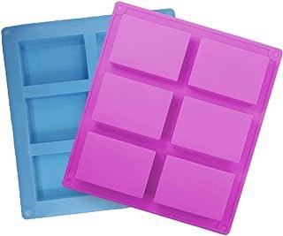 Lot de 2moules à savon rectangulaires en silicone – Avec 6cavités – Pour la fabrication de savons, muffins, cupcakes, ch...