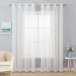 MIULEE 2 Panels Solid Color Ivory Sheer Curtains Elegant Grommet Top Window Voile Panels/Drapes/Treatment for Bedroom Living Room (54X90 Inches)