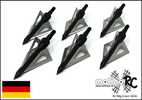 molinoRC 6X Pfeilspitze für Jagd | schwarz | Alu und Edelstahl | Bogenschießen Armbrust | Pfeil und Bogen BRD | treffsicher und stark