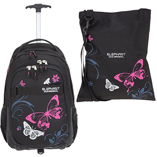 2 Teile Set: ELEPHANT Trolley Hero Signature Trolley + Sportbeutel Attach Bag Motiv 12680 (Butterfly Black PINK)