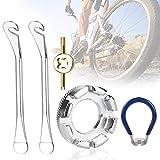 XAVSWRDE Fahrrad Speichenschlüssel 5 Stück Universal Speichenspanner Stahl Speichenwerkzeug mit Reifenheber, Ventil Entferner,Rad Zentrierer für Speichen Fahrrad Reparieren (10-15)