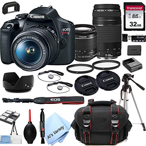 Canon EOS Rebel T7 DSLR Camera with 18-55mm f/3.5-5.6 is Zoom Lens + 75-300mm F/4-5.6 III Lens + 32GB Card, Tripod, Case, and More (24pc Bundle)