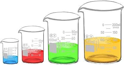 Glass Beakers Set Borosilicate Graduated Measuring Low Form Beaker 4 Sizes 10ml 50ml 100ml 250ml