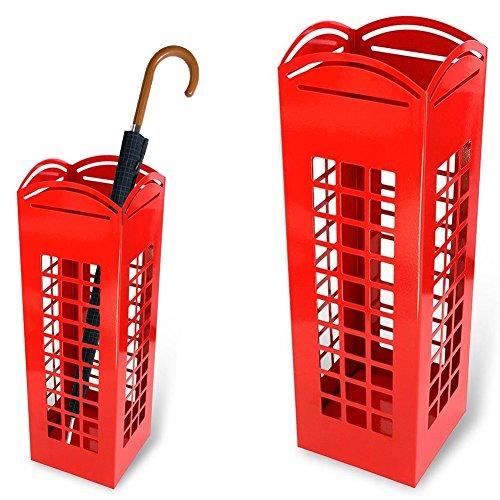 Bakaji 2816638 - Paragüero de hierro con forma de cabina telefónica londinense, cuadrado, rojo, 49 x 15,5 cm
