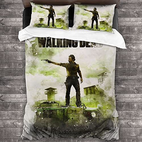 The Walking Dead Boutique 3 Piece Bedding Sheet Set Queen Size Decorative Lightweight Comfortable Soft for Guest Room Bedroom 86 X 70 Inch(1 Quilt Cover 2 Pillowcases)