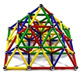 CMS Magnetics156 PC Magnetic Building Set w/ 2.29' Long Multi-Color Sticks! Magnetic Building Toy for Kids & Adults! Nice Preschool Magnetic Learning Toy! Building Blocks & Tiles