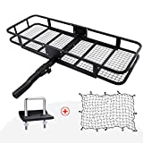 """Hitch Mount Cargo Carrier with Cargo Net and Anti-rattle Stabilizer 60"""" x 21"""" x 6"""" Folding Cargo Basket with 500 LB Capacity Fits 2"""" Receiver for Car SUV Pickup (USPTO Patent Pending)"""