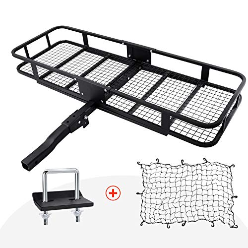 Hitch Mount Cargo Carrier with Cargo Net and Anti-rattle Stabilizer 60' x 21' x 6' Folding Cargo Basket with 500 LB Capacity Fits 2' Receiver for Car SUV Pickup (USPTO Patent Pending)