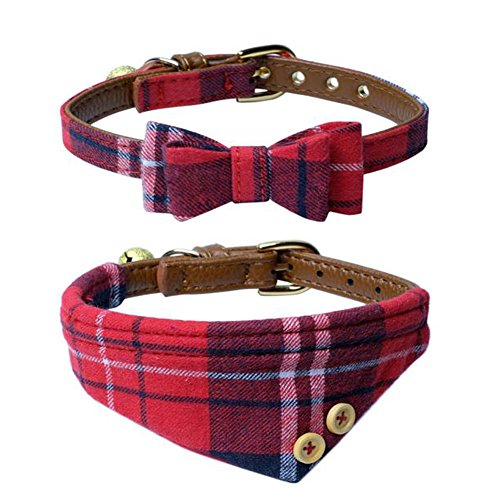 The creativehome Dog Cat Collars Leather for Small pet,Adjustable Bow-tie and Scarf Puppy Collars with Bell,Cute Plaid Red Bandana Dog Collar(2 pack)