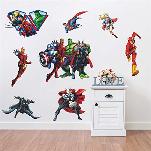 EASTVAPS Avengers Iron Man Spider-Man Superman Hulk Dormitorio Pegatinas de Pared Sala de Estar Pegatinas de Pared Murales 45x60cm