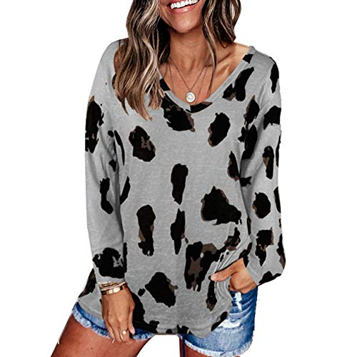 Womens Cow Pattern Tee Shirts Long Sleeve V Neck T Shirt Leopard Fall Basic Tee Tops Loose Casual Grey