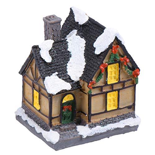 Uonlytech Figura en miniatura de pueblo de Navidad, casas, casetas de nieve, de resina, para jardín hado, micro paisaje, decoración de oficina