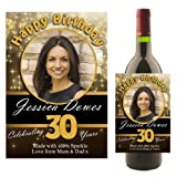 Personalised Happy Birthday Wine Champagne Bottle Photo Label ~ Any Age 18th 21st 30th 40th 50th Birthday Gift Idea for him her N9