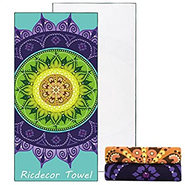 Ricdecor Beach Towel Large Mandala Beach Towel Blanket with Tassels Ultra Soft Super Water Absorbent Multi-Purpose Beach Throw 59 inch across By (NO.32)