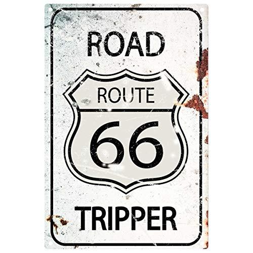Fhdang Decor Route 66 Sign Road Tripper , Route Décor Cadeau pour ami, Plaque en métal, 30,5 x 45,7 cm