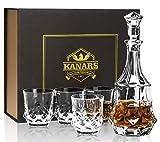KANARS Carafe et Verres à Whisky, Décanter Cristal, 750 ML Bouteille avec 4X 300 ML Verre à Whiskey, Belle Boîte Cadea, Lot de 5 Pièces