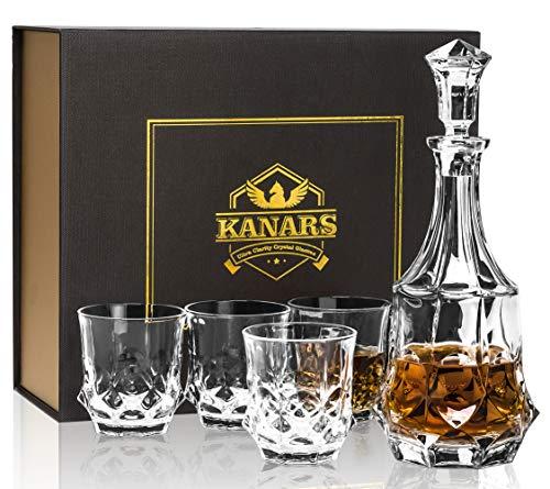 KANARS Bottiglie e Bicchieri whisky, Decanter da Whiskey Cristallo, 5 Pezzi, 750 ml Bottiglia con 4x 300 ml Bicchieri, Bellissimo Regalo