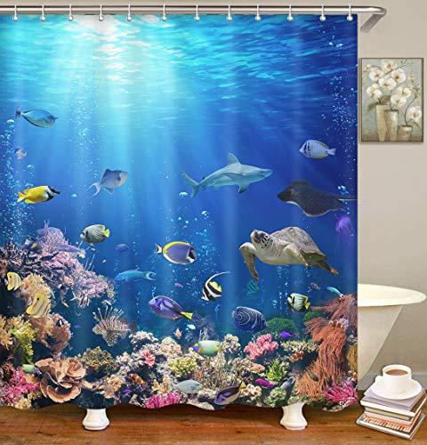 Britimes Shower Curtain Underwater Scene Coral Reef Tropical Fish Aquarium sea Waterproof Polyester Fabric Bathroom Decor Bath 78 x 72 Inches Set with Hooks