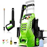 Pressure Washer 2300PSI NUSIIRO Electric Power Washer 2.1GPM High Powerful 1800W with 4 Nozzles, Big Bottle, Retractable Handle and Storage Design(Green)
