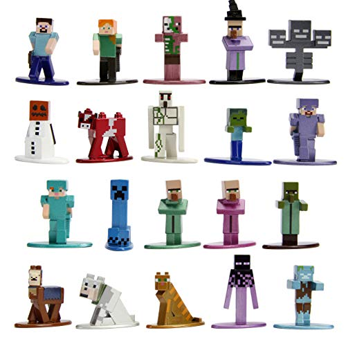"""Jada Toys Minecraft 1.65"""" Die-cast Metal Collectible Figurine 20-Pack Wave 2, Toys for Kids and Adults, Multi (30770)"""