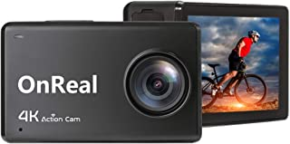 OnReal B1 Action Camera 4K WiFi Underwater 30M Waterproof Cameras, Sport Cam with IPS Ultra HD Touch Screen, Include Remote Control Watch, 2 Batteries and Mounting Accessories Kits