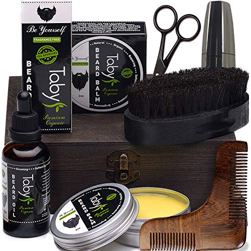 Beard Care Kit, Grooming & Trimming Gift Set for Men Includes -...