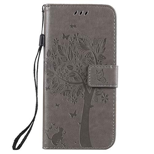Docrax Handyhülle Lederhülle für LG K40 / K12+ (K12 Plus), Flip Case Schutzhülle Hülle mit Standfunktion Kartenfach Magnet Brieftasche für LG K40 - DOKTU080401 Grau
